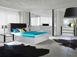 Hochglanz Schlafzimmer komplett LINN Bett, Kleiderschrank 250 cm, 2 ...