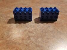 2x LEGO Black Modified Bricks  2 x 4 x 2 STUDS on SIDES 6981 6861 6988 #2434