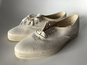 Details about DAGS Vintage Type Keds Pointy Toe White Canvas Lace up Shoes  12 M Deadstock