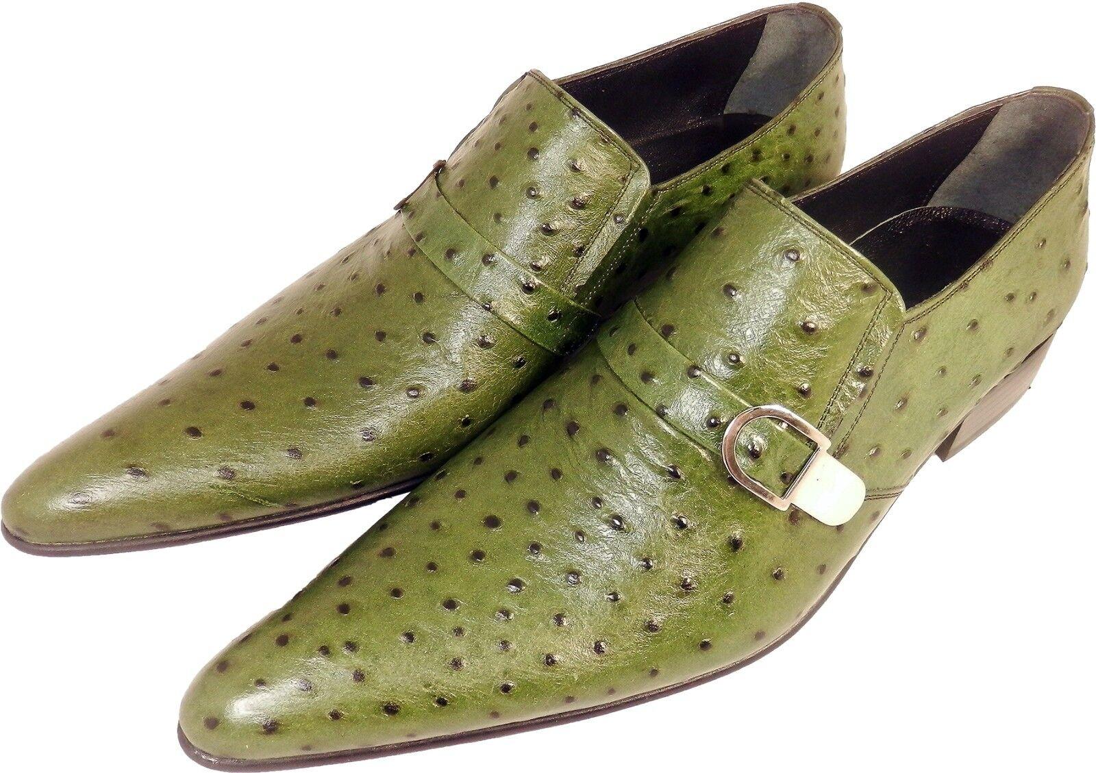 Chelsy - Top Italienischer Seitenschnalle Designer Slipper Straußenmuster Seitenschnalle Italienischer grün aea940