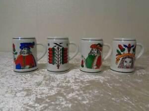 4X-Porcelana-Krug-Vaso-de-Precipitados-Original-DDR-Juego-Cartas-Con