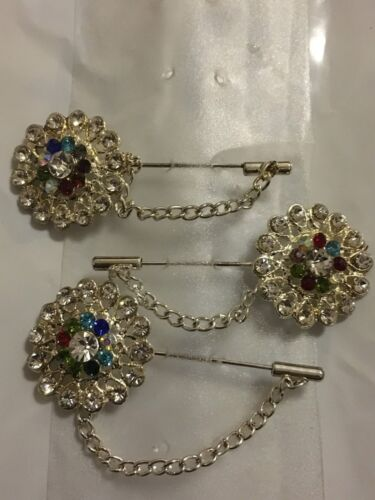 Broche Pin Diamante Cristal Hijab Bufanda en corazón diamante en blanco * Nuevo