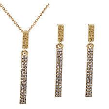 Elegant Gold and White Rhinestones Jewellery Set Stud Earrings & Necklace S721
