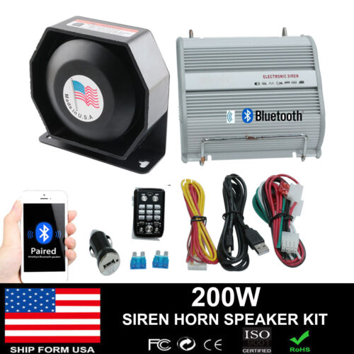200W PA Siren Horn Bluetooth Loud Speaker System Kit Warning Alarm 8 Sounds Part