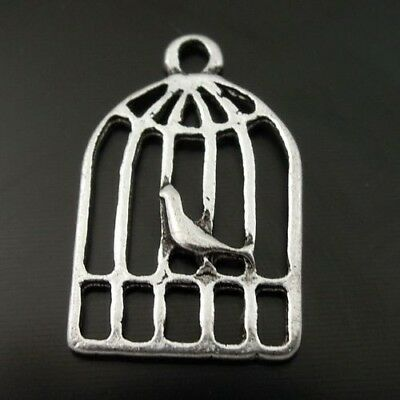 70X Vintage Style Silver Tone Bird Cage Pendant Charms 19*12*1mm