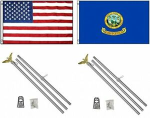 3x5 USA American & State of Idaho Flag & 2 Aluminum Pole Kit Sets 3'x5'