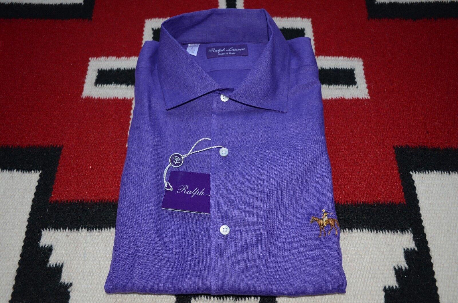 Ralph Lauren Purple Label Made in  100% Linen Pony Logo Short Sleeve Shirt