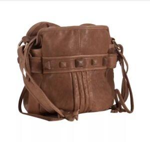 Junior-Drake-Faren-Bucket-Bag-Crossbody-Purse-Handbag-Tan-Leather-Studded