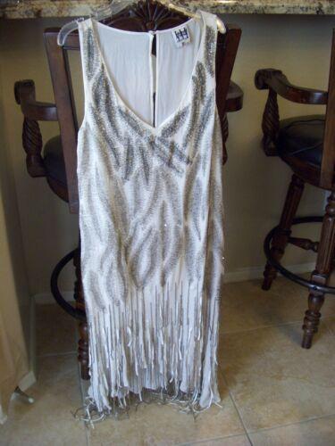 $1295 Haute Hippie Beaded Flapper Fringed Silk Emb