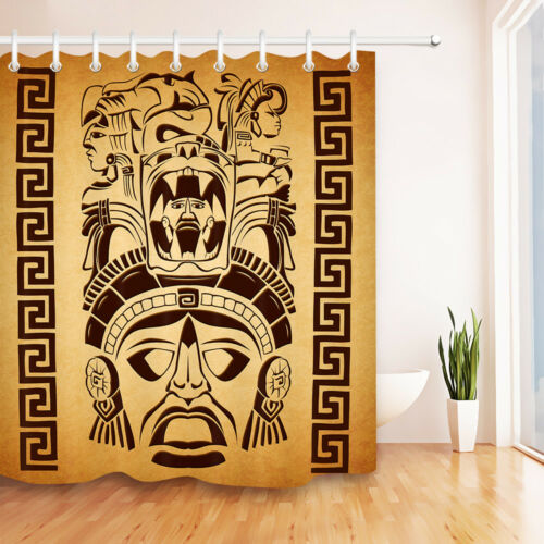 Bathroom Shower Curtain Set Bath Mat Waterproof Fabric Mexican Mayan Motifs 72/""