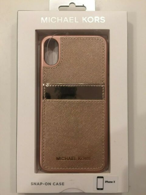 buy popular a35cf 7971b Michael Kors Saffiano Leather Phone Case For Iphone X - Rose Gold NEW