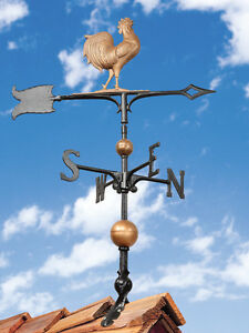 Rooty-the-Rooster-Chicken-Weathervane-Copper-Color-2-5-ft-tall-FREE-mount