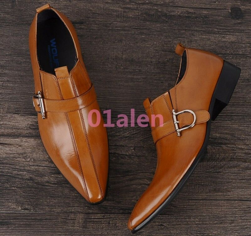 Mens Buckle Wedding Formal Pointy Toe Real Leather Dress Business British Shoes