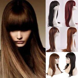 women long hair full wig fringe bangs hair nets full bangs