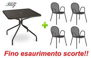 Tavoli Per Esterno Emu.Tavolo Esterno Cambi 801 80x80 Cm Ferro Antico 4 Poltrone Ronda
