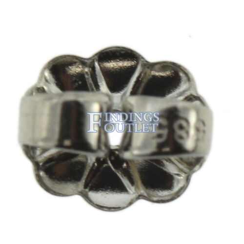 14k White Gold V-End Trillion Stud Earring Mounting Setting Push Back Post