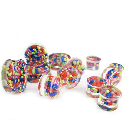 Pair of Bubble Gum Candy Plugs / Ear Gauges Double Flare 2G - 1Inch