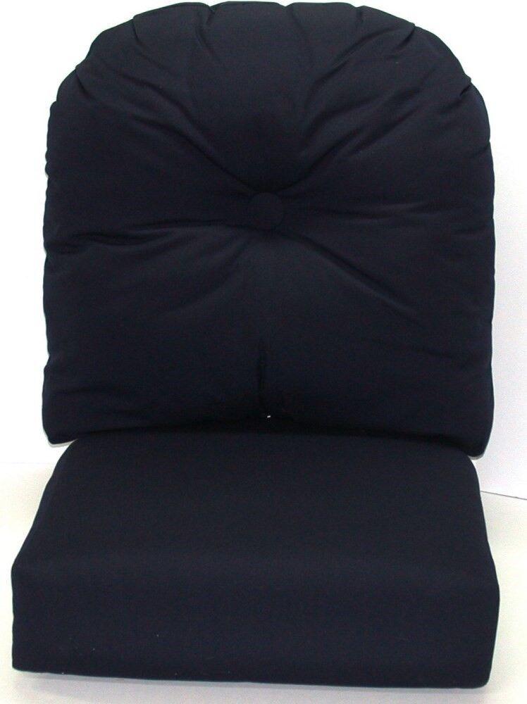 (1) Exterior Profundo Cojín Asiento Juego  Lona Azul Marino Sunbrella 22.5x25x5