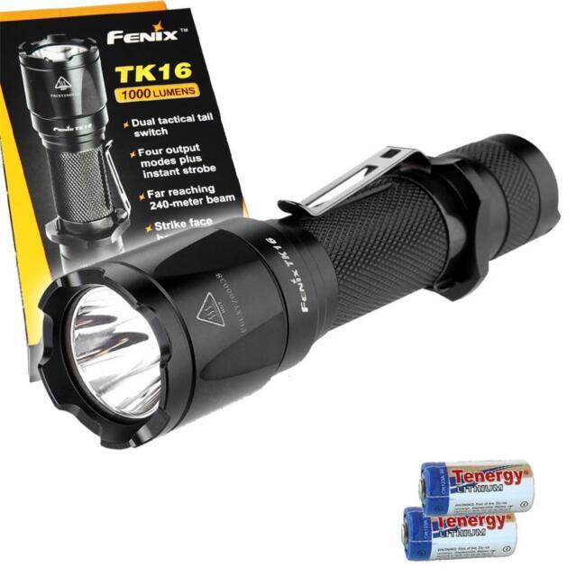 Fenix TK16 1000 Lumen LED Flashlight w// Pressure Switch Offset Mount /& 2xCR123s