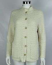 J Jill Womens Petites Sz Small Ivory Chenille Long Sleeve Button Front Cardigan