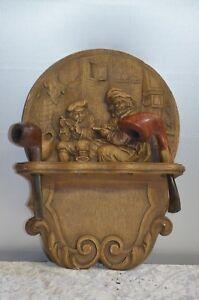 ** Ancien Porte Pipe Signe Sculpture PlÂtre Statue Personnage Fumant