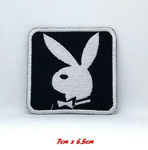 Playboy-Bunny-Black-amp-White-Embroidered-Iron-Sew-on-Patch-Badge-Logo-389