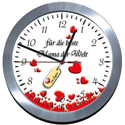 Muttertag-Uhr ♥ Wanduhr ♥♥ ALU-FUNK-LERNUHR♥♥GESCHENK♥MUTTER♥LIEBE★WEIHNACHTEN★