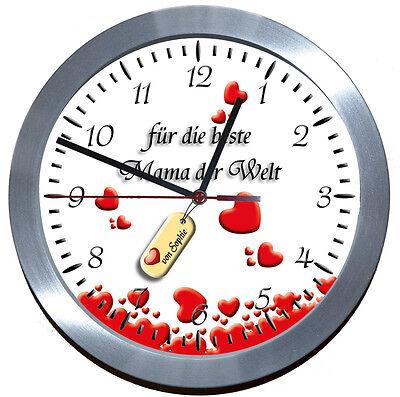Muttertag-Uhr ♥ Wanduhr ♥♥ ALU-FUNK-LERNUHR♥♥GESCHENK♥MUTTER♥LIEBE★EINSCHULUNG★