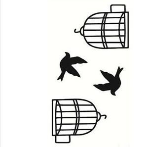 Planche De 4 Tatouages Ephemeres Oiseau Hors De Sa Cage Waterproof