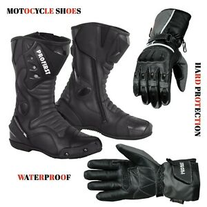 Waterproof-Long-Ankle-Boots-Leather-Touring-Footwear-amp-Motorbike-Leather-Gloves