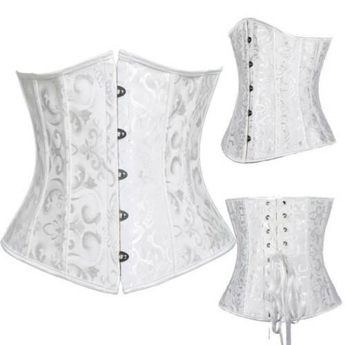 Details about  /Women Satin Lace Up Boned Underbust Corset Bustier Waist Training Gothic Costume