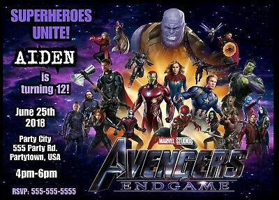 Avengers Endgame Personalized Birthday Party Invitation Digital File You Print Ebay