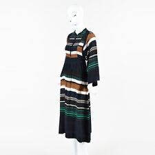 Apiece Apart NWT $575 Black Rancho Stripe Silk Sierra LS Maxi Dress SZ 2