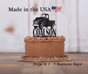 Image Is Loading Vintage Truck Birthday Cake Topper Any Name Personalized