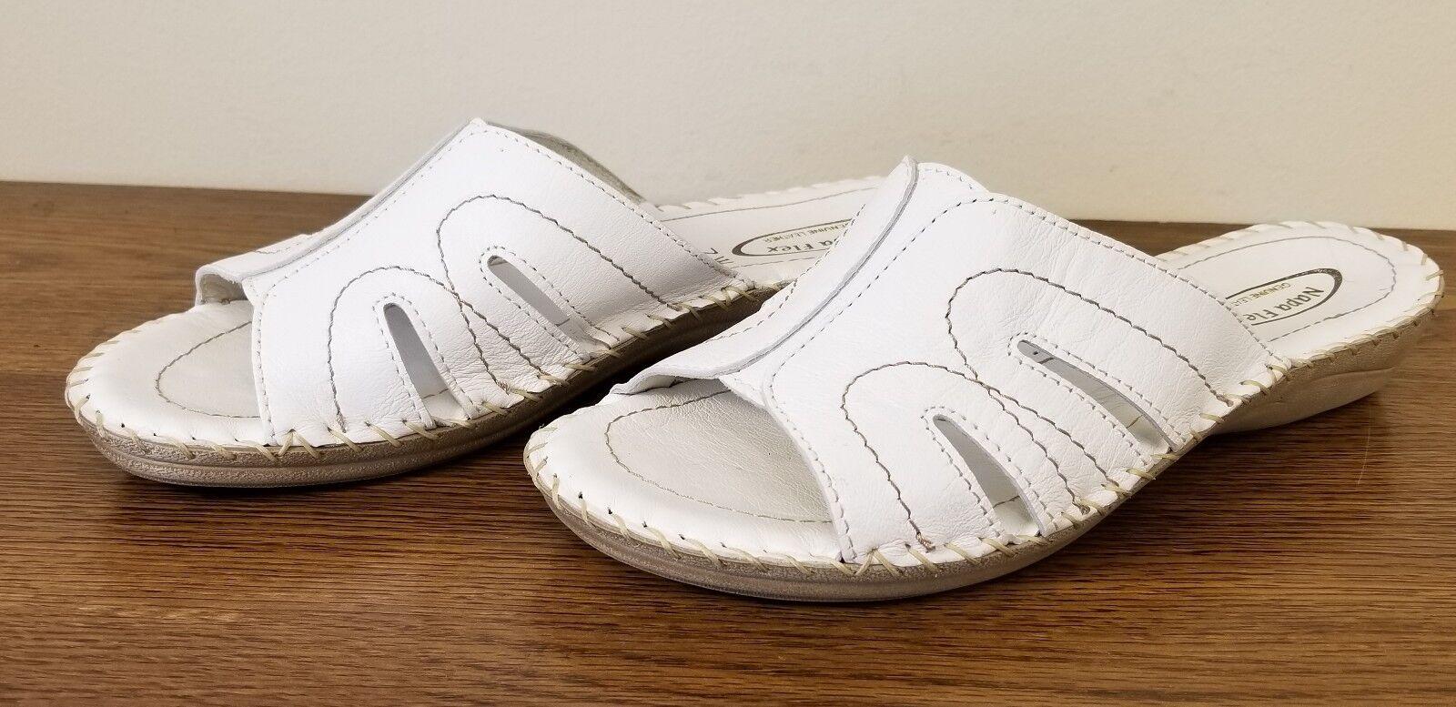 Napa Flex Pronto White Leather Open Size Toe Slide Sandals Women's Size Open /US 7 764b8a