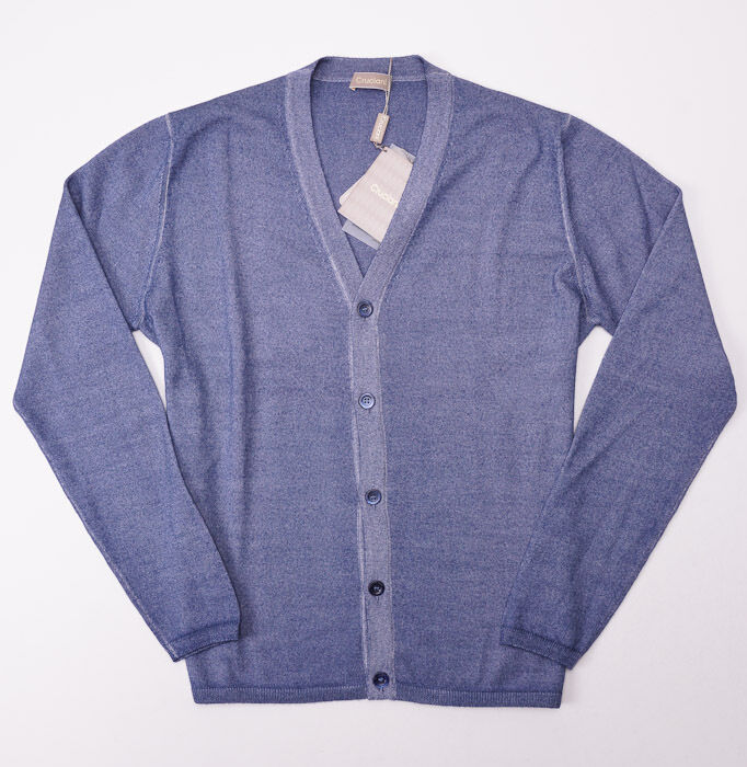 NWT 695 CRUCIANI Slate Blau Merino Wool Cardigan Sweater S (Eu 46)