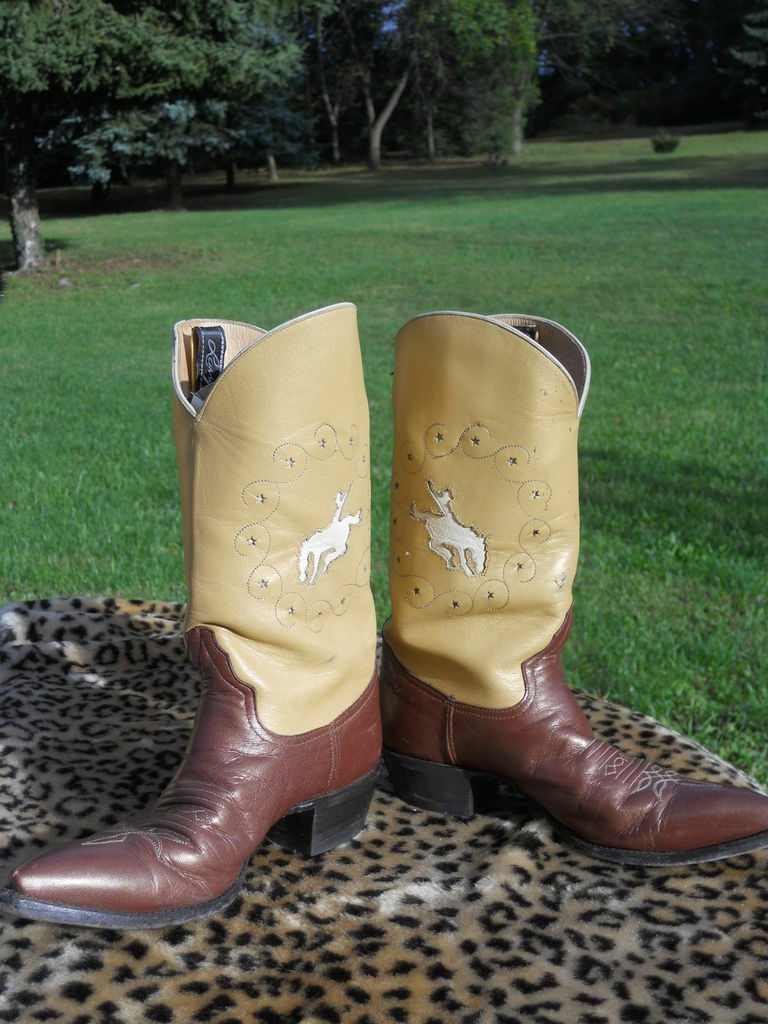 Larry Mahan Braun Tan Rodeo Cut Out Cowboy Western Cowgirl Rockabilly Stiefel 5.5