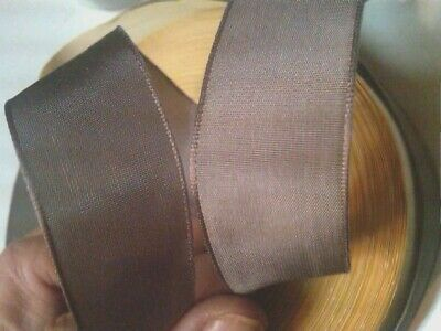 """VINTAGE 5//8/"""" FRENCH RIBBON with wire SOLID 1yd BRONZE MOSS Made in France"""