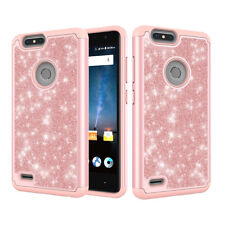 for ZTE Blade Z Max Frozen Glitter Dual Layer Hybrid Hard Snap-in