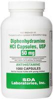 Generic Benadryl Allergy - Diphenhydramine (50mg) - 1000 Capsules