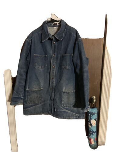 Denim Prison Work/Chore Jacket Men's Sz XL Blanket