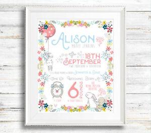 christening gift, bunny print//birth stats// boy girl birth details print