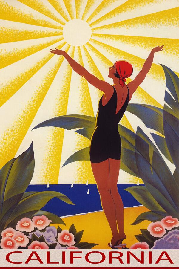 CALIFORNIA SUNSHINE BEACH Mädchen SALUTING SUN SAILING TRAVEL VINTAGE POSTER REPRO