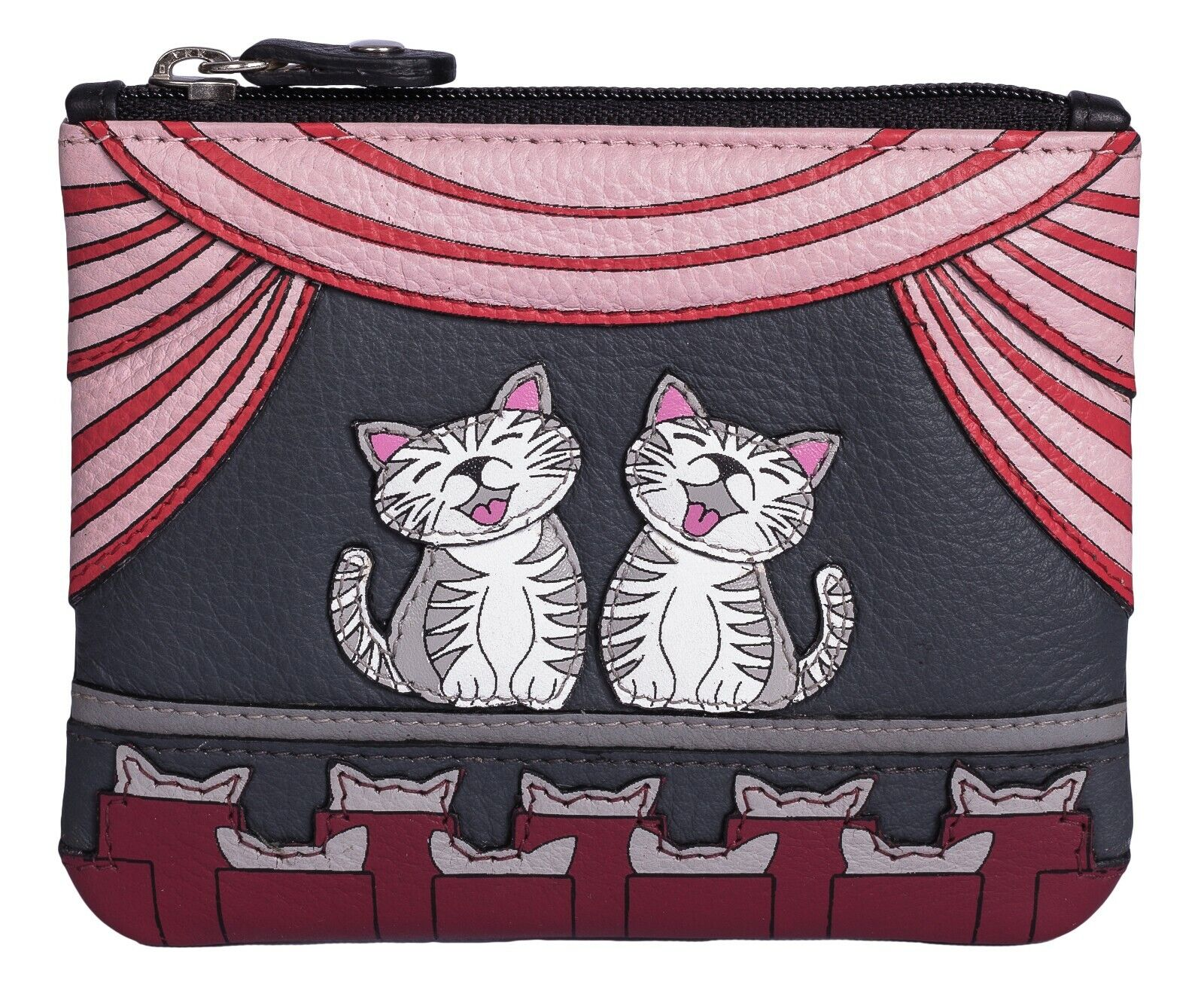 Luxury Cat coin & card purse by Mala Leather 'Cats the Meowiscal' RFID 4209
