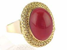 Handarbeit 14 K 585 Gelb Gold Südsee Momo Koralle massiver Damen Ring