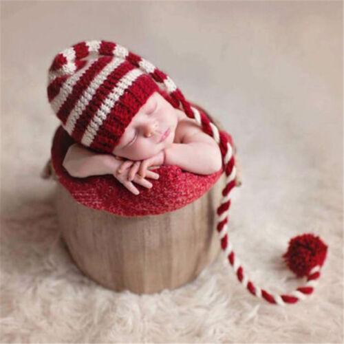 Christmas Baby Newborn Hat Crochet Long Tail Striped Photo Props Hat Cap Fashion