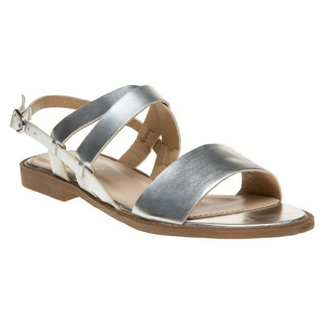 New Womens SOLESISTER Metallic Buckle Hale Synthetic Sandals Flats Buckle Metallic c41fe3