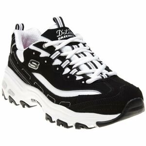 Details about New Womens Skechers Black White D'lites Textile Trainers Chunky Lace Up