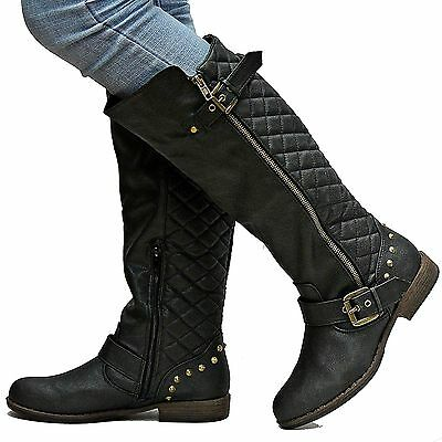 New Womens BM87 Black Quilted Riding Knee High Boots Sz 5.5 to 11