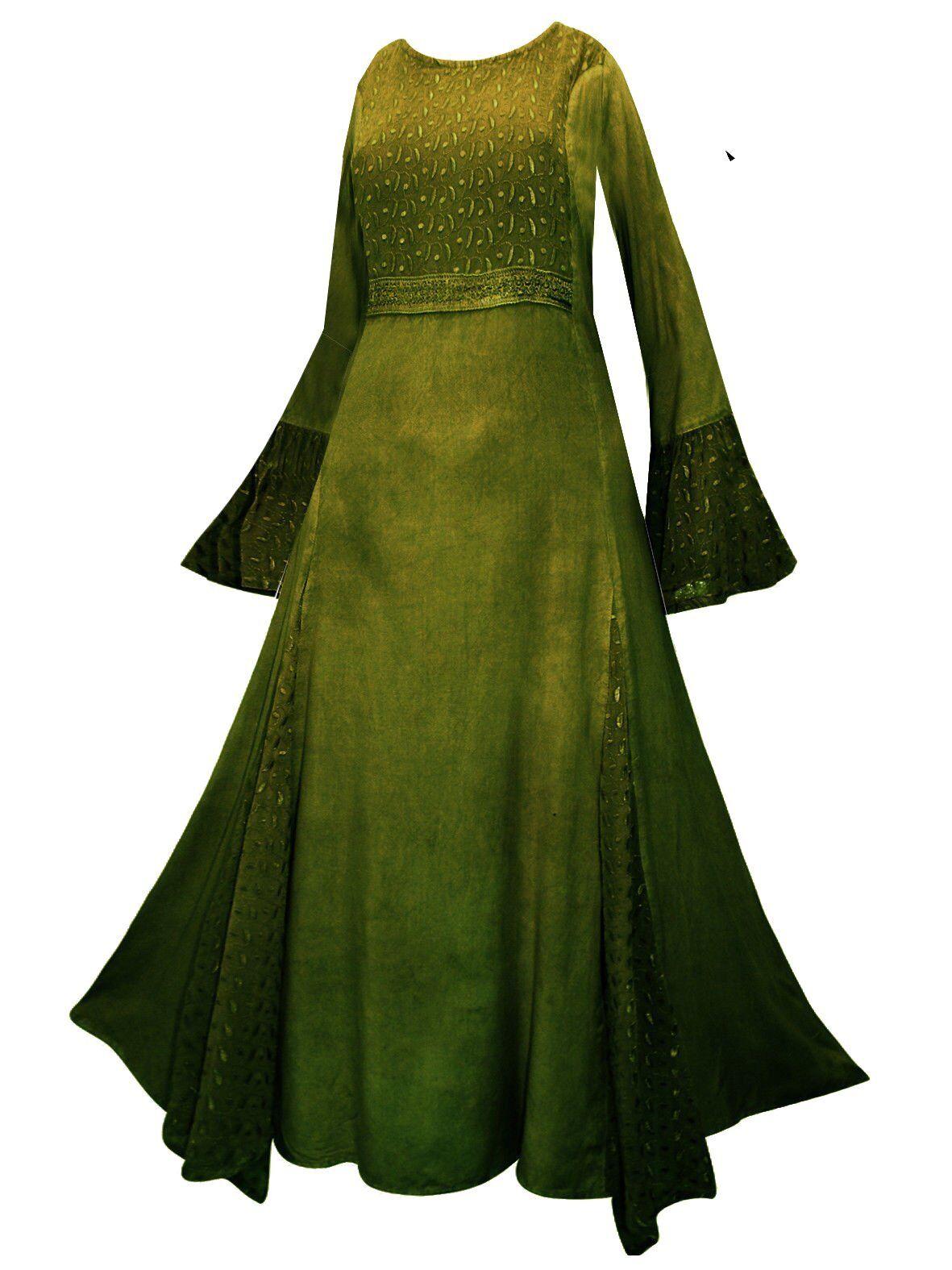 Medioevale Ricamato Principessa Abito lungo misure grandi 44   54 verde wicca